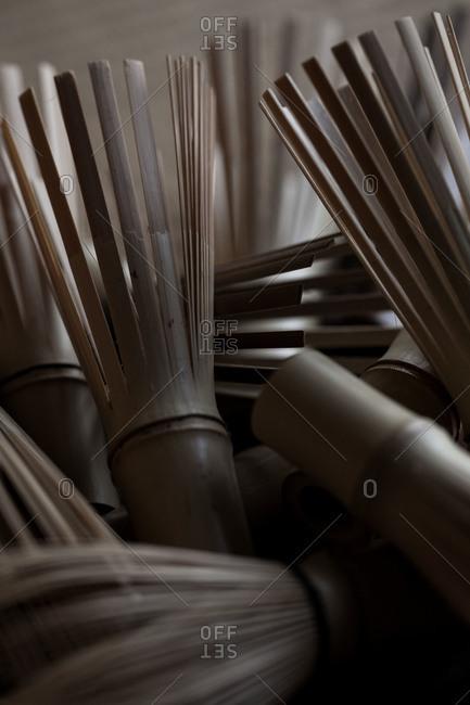 Close up of bamboo tea whisks