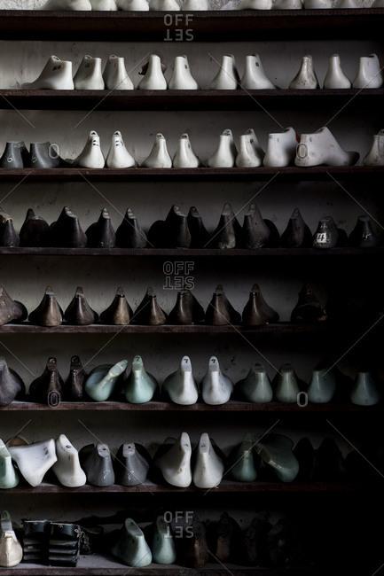 Shoe forms in a shoemaker workshop