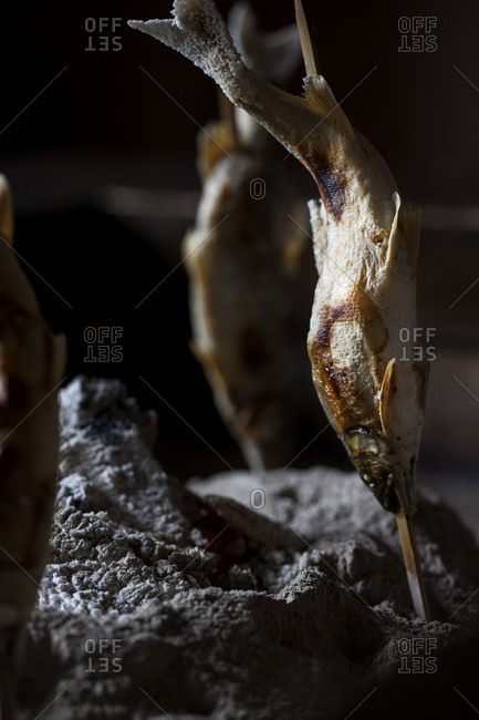 Traditional Japanese fish smoking method