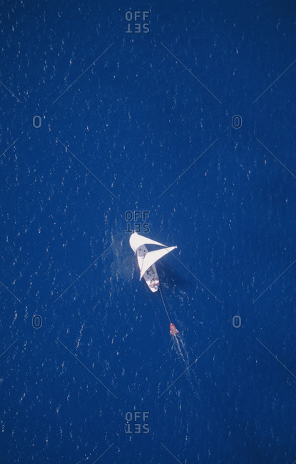 A sailboat above the Great Barrier Reef in Australia