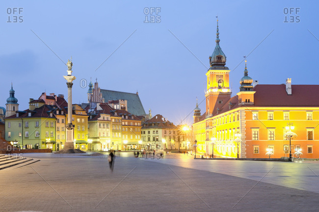 Royal Castle and the column of Sigismund at Zamkowy place, Warsaw, Poland