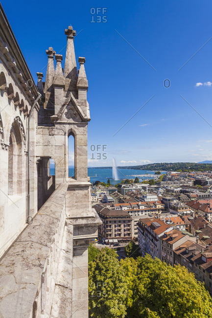 View from Saint-Pierre cathedral to city and Lake Geneva