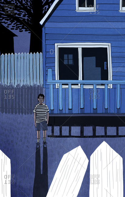 Illustration of a boy in his yard at night