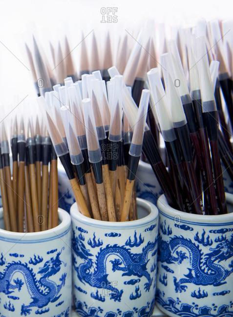 Beijing, China, Chinese calligraphy brushes