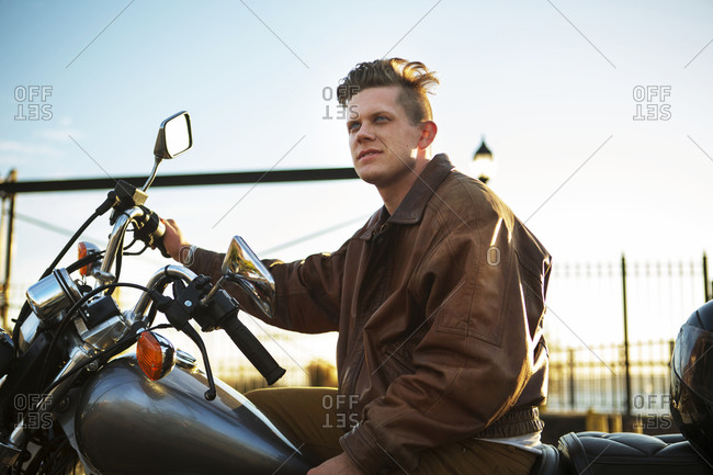 Young man on a motorcycle