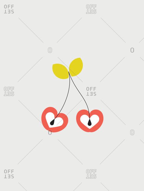 Illustration of red cherries