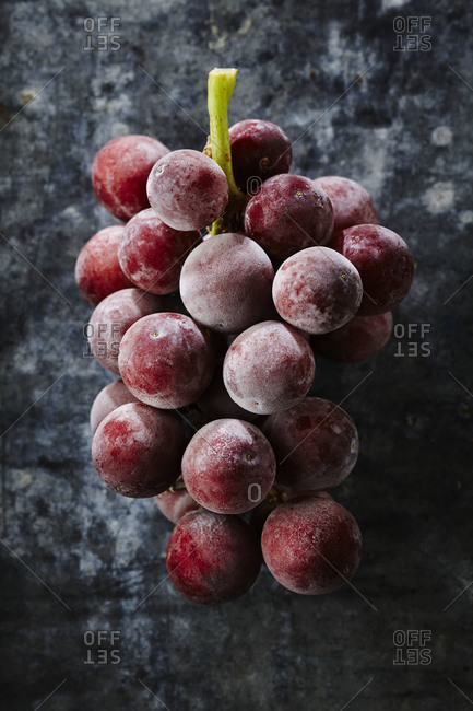 Frozen grapes on a black background