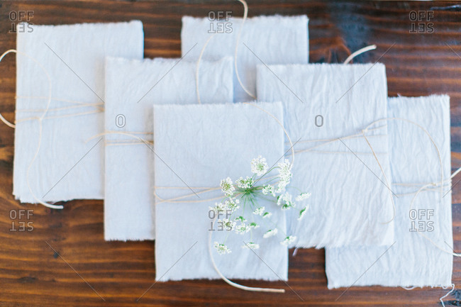 Rustic wedding programs in string