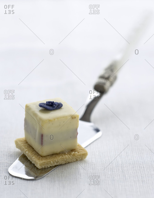 Close up of a tasty dessert on a cake knife