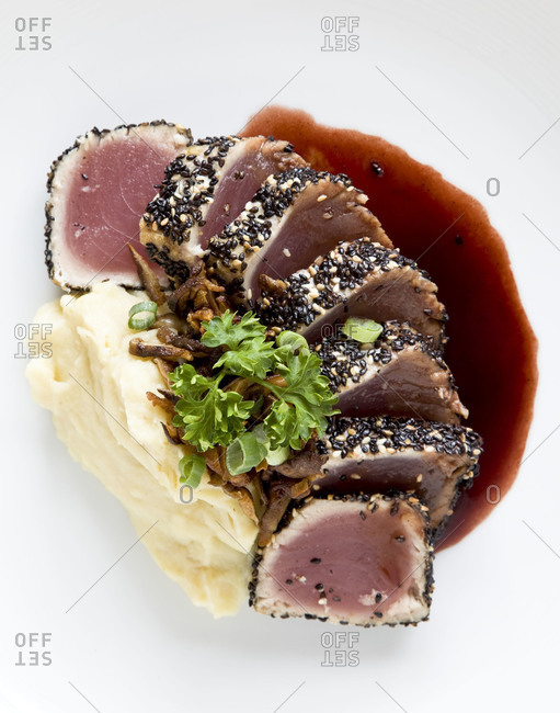Tuna fish served with mashed potato