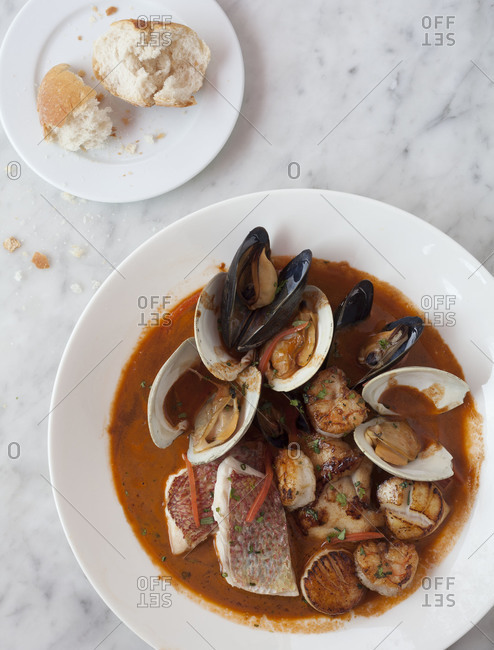 Fish soup with mussels and scallops