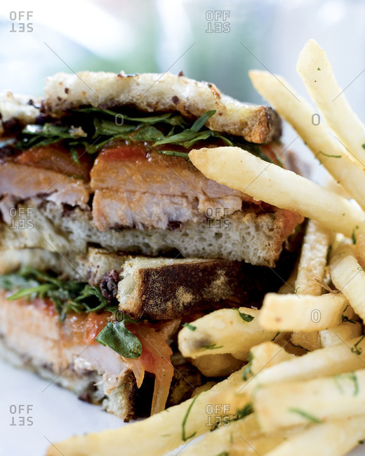 Pork sandwich with fries