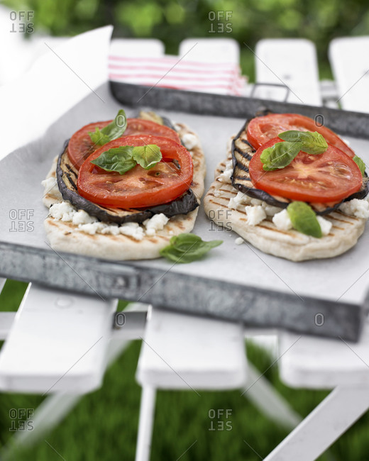 Flatbreads with grilled vegetables