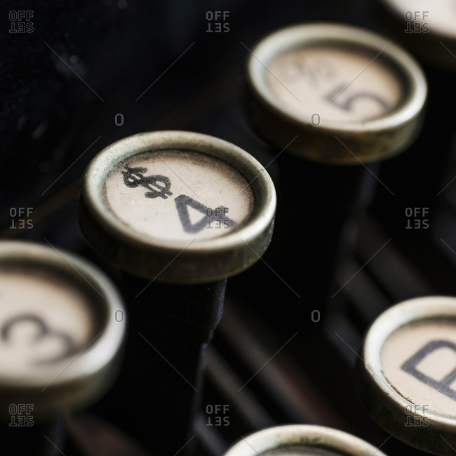 Close-up view of an antique typewriter