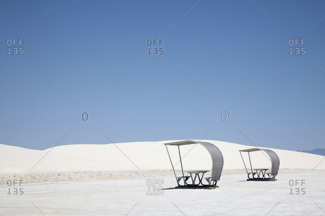 Picnic tables in White Sands National Park, New Mexico
