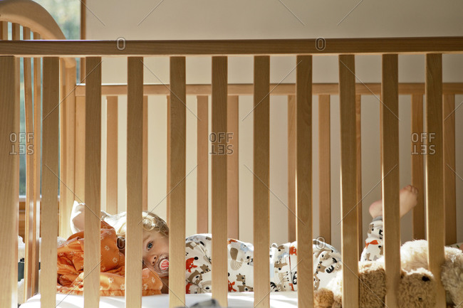 Toddler resting in his crib