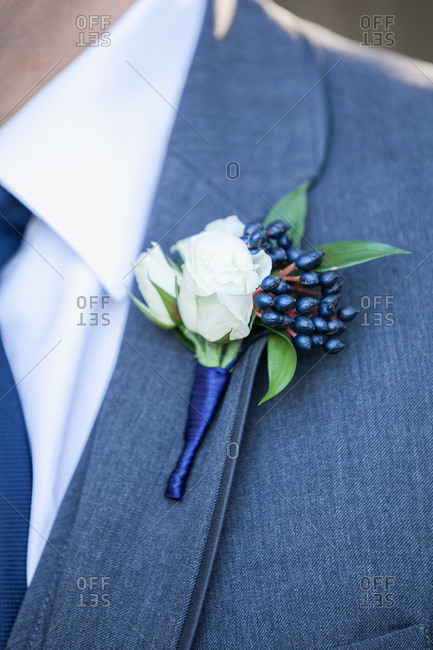 Boutonniere with white roses