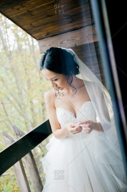Beautiful girl in bridal veil