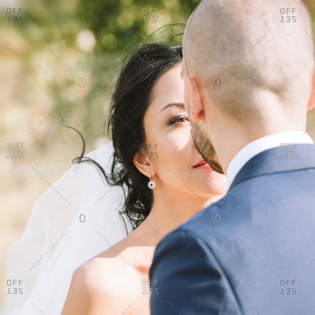 Rear view of a bride admiring groom