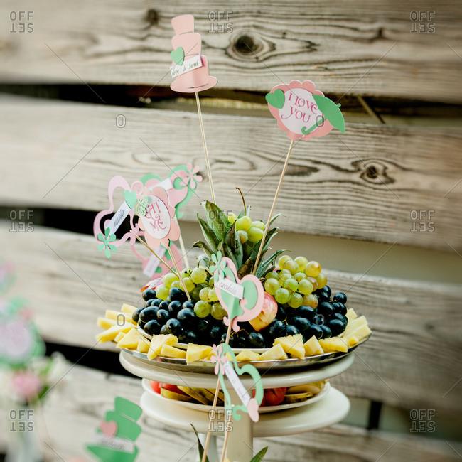 Platter of mixed fruit at wedding reception