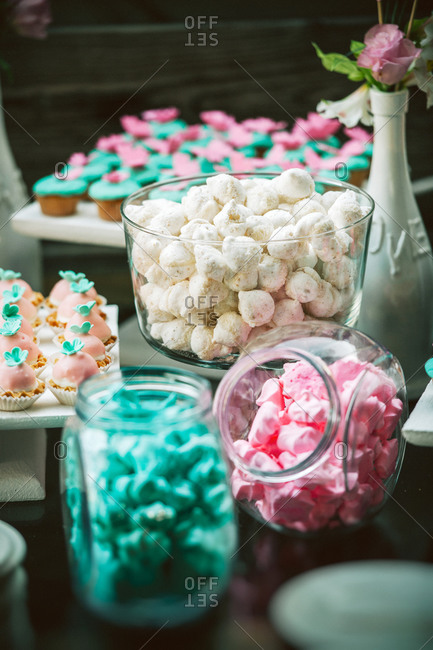 Cupcakes and sweets at wedding reception
