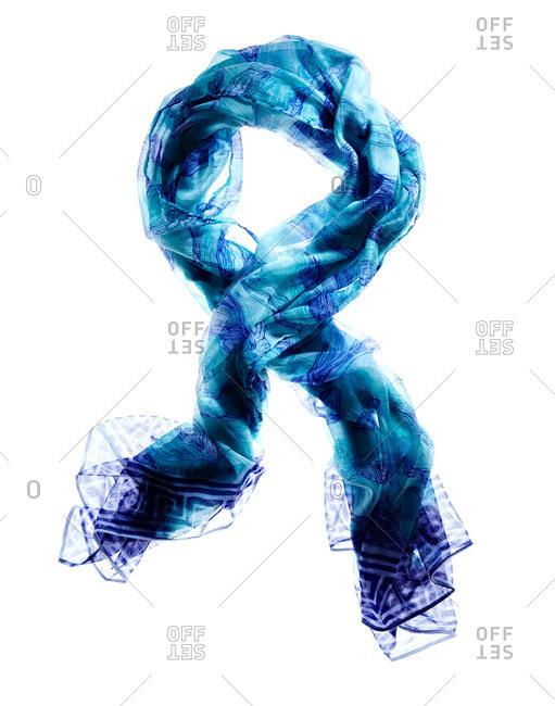 Studio shot of a blue scarf