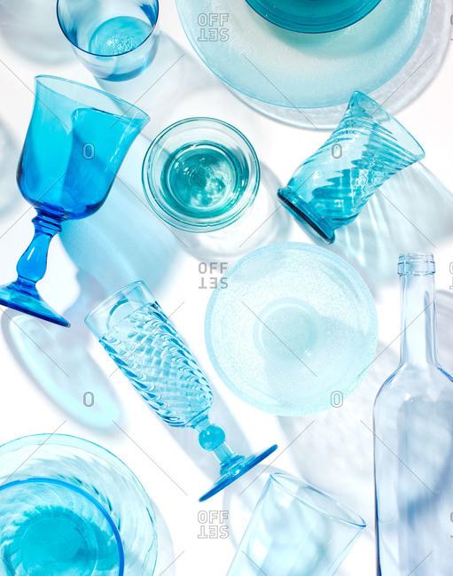 Studio shot of blue glasses