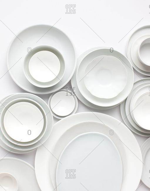 Studio shot of white plates