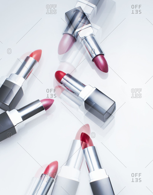 Lipsticks in different shades of red