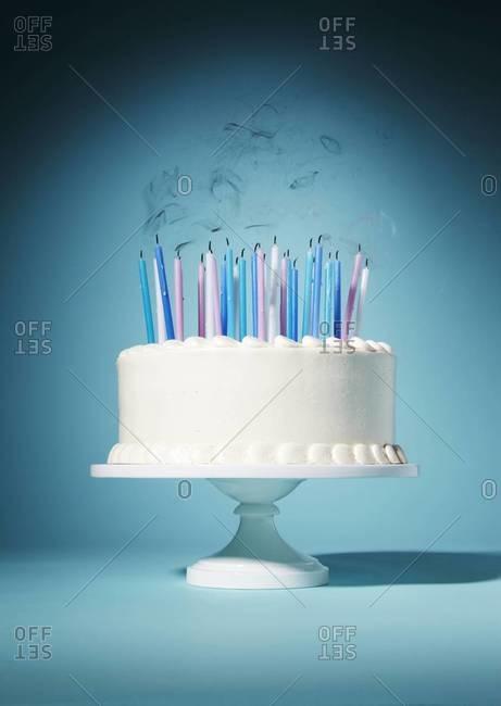 Still life of a birthday cake