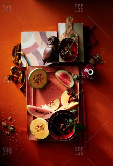 Fruit assortment on a platter