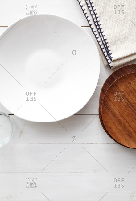 White plate on a tabletop