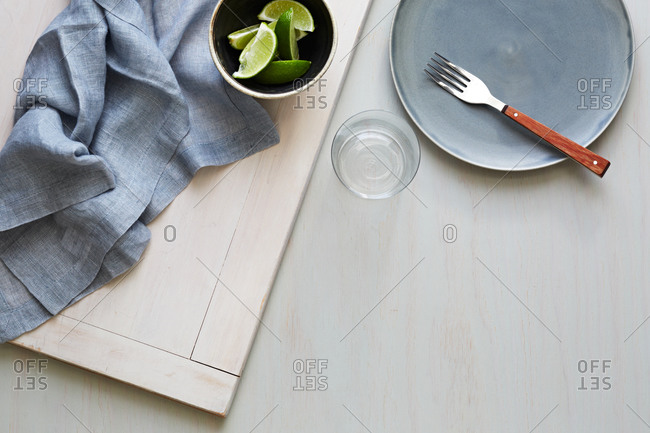 Still life of dishware on table