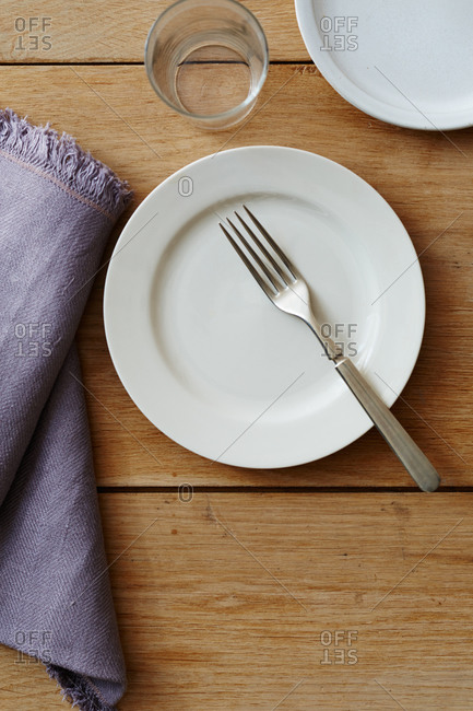 Silver fork on a plate