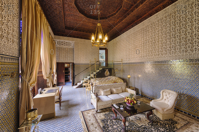 Fes, Morocco - April 10, 2014: Hotel suite at the Hotel Riad Fes