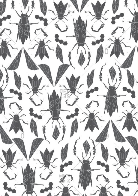 Print of bees in a pattern