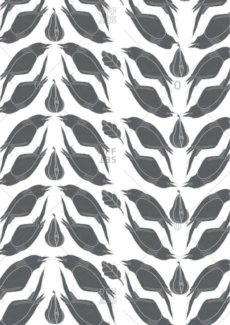 Print of birds in a pattern