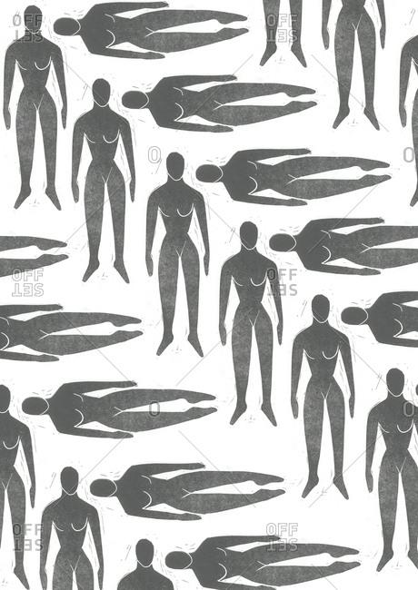 Print of female body in a pattern