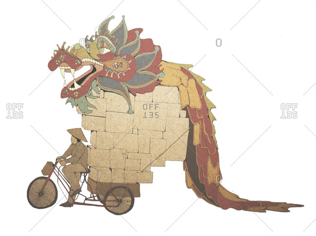 Illustration of Chinese man riding bike with dragon