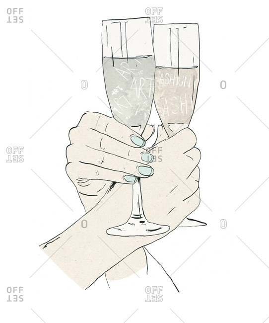 Illustration of two hands locked with champagne flutes