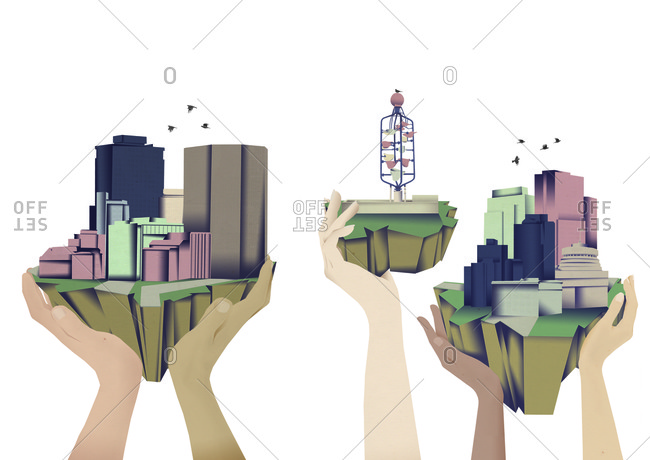 Illustration of hands holding up city areas