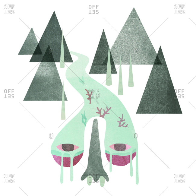 Illustration of mountains and river turning into nose
