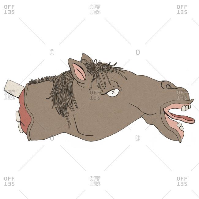 Illustration of dead horse head