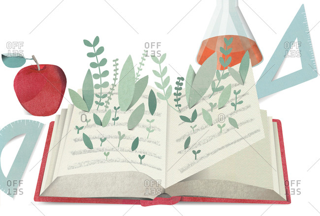 Illustration of book sprouting plants