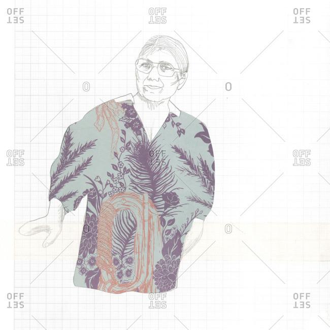 Illustration of older woman in plant shirt