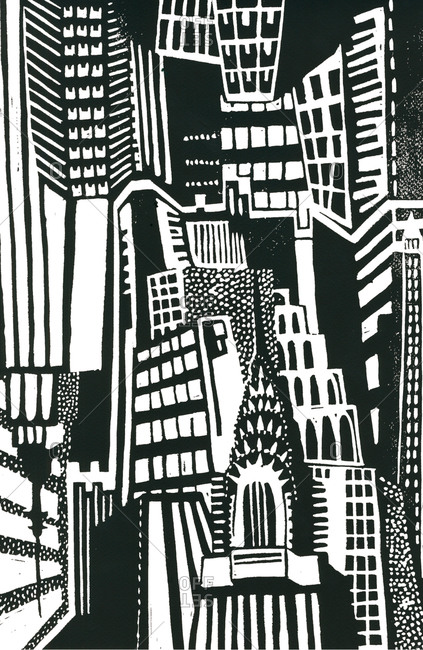 Woodcut of overlapping city buildings