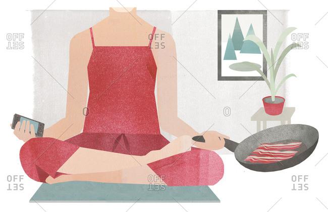 Illustration of woman doing yoga balancing phone and cooking