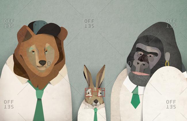 Illustration of three animals wearing school uniforms