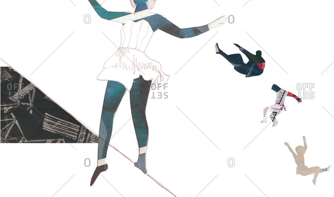 Illustration of woman on tightrope with acrobats
