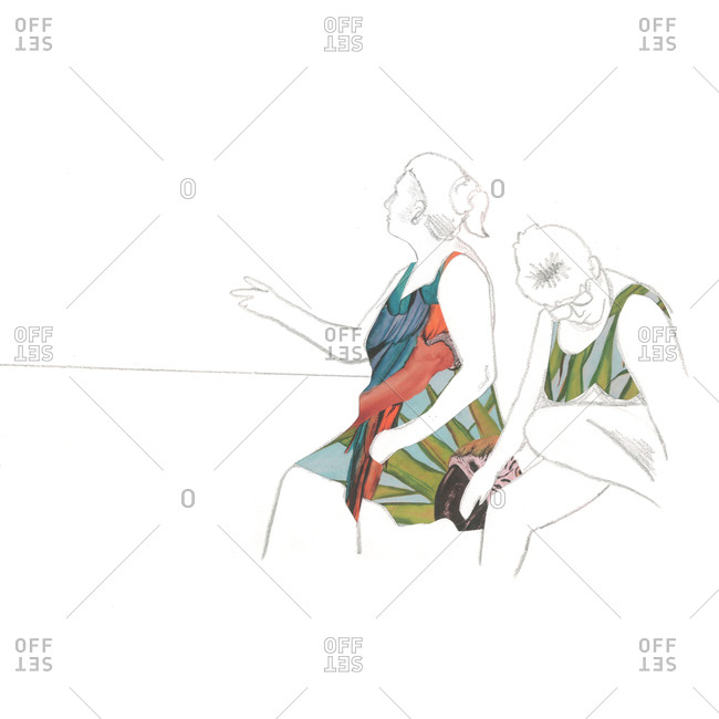 Illustration of two casual older women sitting